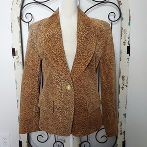 The Limited leopard print leather blazer small
